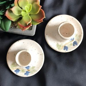 2 Hand Painted Glazed Pottery Candle Holders